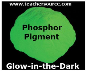 Phosphor pigment is a glow-in-the-dark pigment containing a phosporescent pigment.