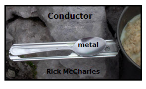 Metal Conductor For example The metal spoon