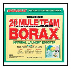 Borax is combined with laundry detergent to clean clothes. Borax is the common name for Sodium Borate.
