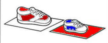 Diagram of shoes set on colored paper.