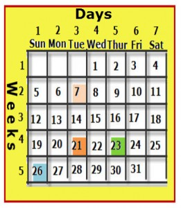 The calendar has columns numbered and named, weeks are numbered.