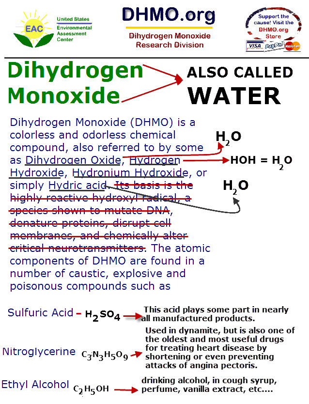 WATER IS BEING CALLED DHMO TO CONFUSE PEOPLE INTO BELIEVING THAT IT IS A DANGEROUS CHEMICAL