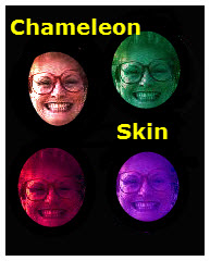 The group of four photos model what a person with pigmented skin like a chameleon would look like.