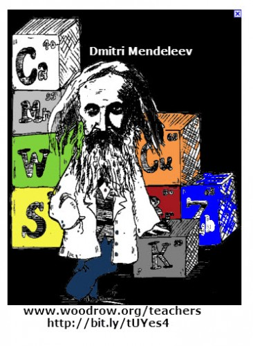 This caricature of Dmitri Mendeleev shows the scientists standing in front of blocks of chemical elements.
