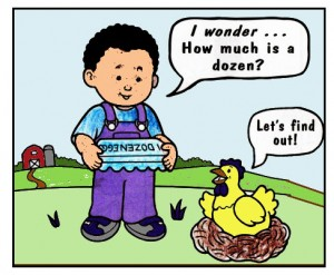A conversation between about boy and a chicken about how much a dozen is.