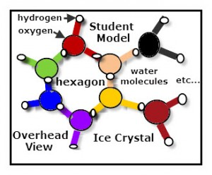 Students with hand to shoulder positioning form hexagonal ice crystal units.