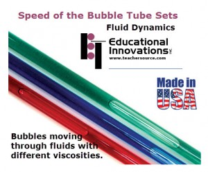 Educational Innovations Fluid Dynamics Bubble Tubes : Three tubes with three different fluid viscosities.