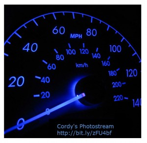The speedometer indicates the car is stationary.