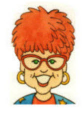 Caricature of Janice VanCleave, short red hair and red framed glasses.
