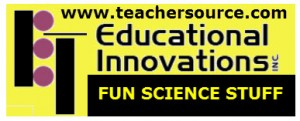 A black and yellow logo for Educational Innovations. A place to find fun science supplies.