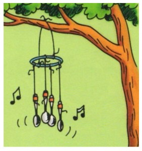 Metal spoons used to make a wind chime. As the spoons bang together they vibrate producing sound waves.