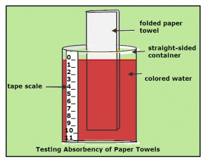 A straight sided container with a tape scale 0-11. A folded paper towel standing in the red water in the container.