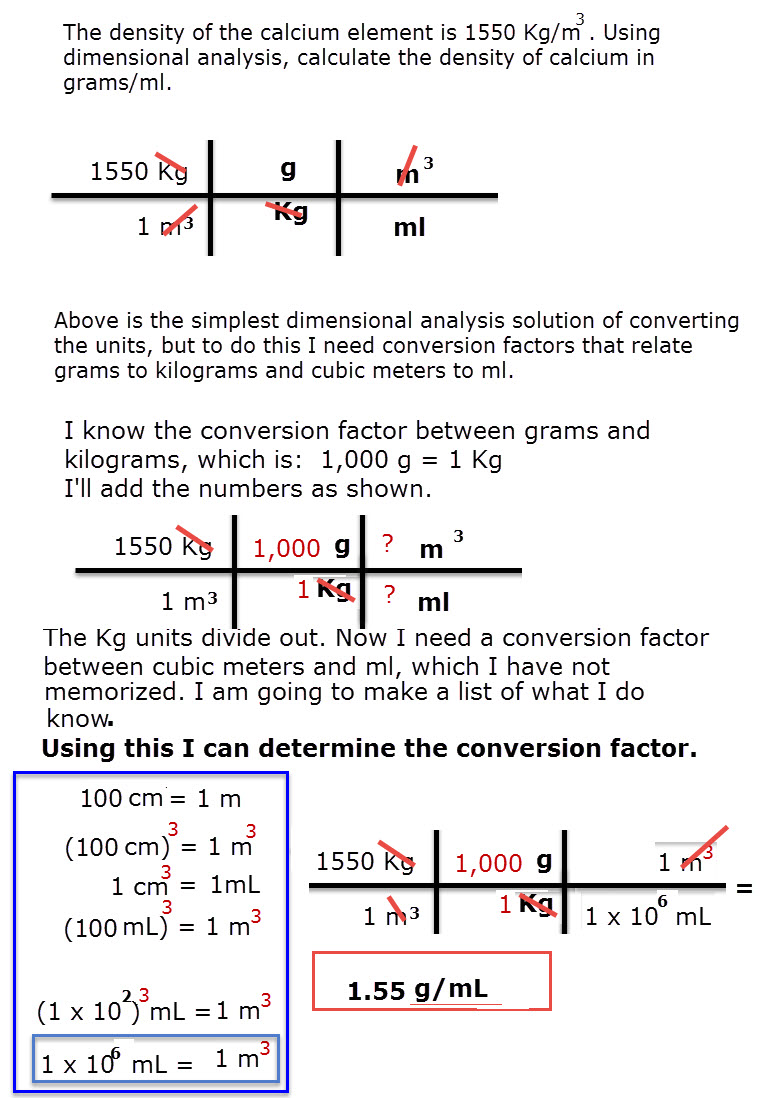 Dimensional Analysis Converting Density Units